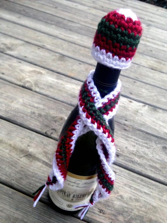 CROCHET PATTERN: Wine Bottle Hat & Scarf Cozy